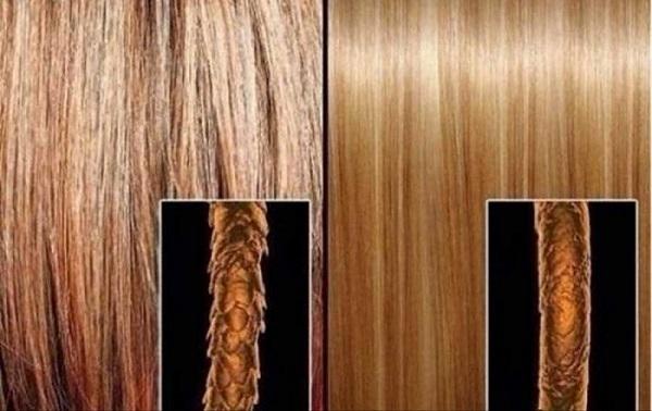 Структура чешуек на поврежденных и здоровых волосах