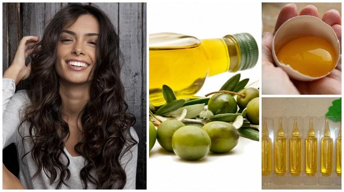 Маска на основе жидких витаминов, желтка и оливкового масла